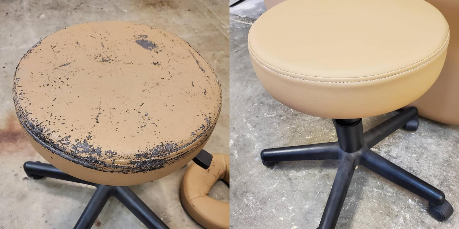 Reupholstered stool